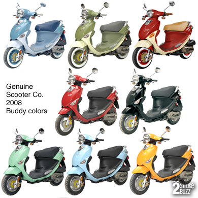 Genuine Scooter Co. Buddy colors for 2008