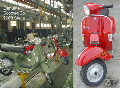 2008 Genuine Scooter Co. Stella, Milano Red, and production line at LML, November 2006