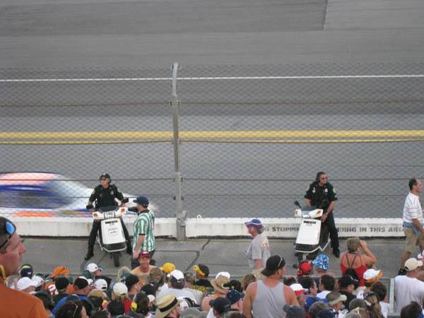 Police on Honda Elites at a NASCAR race